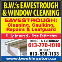 EAVESTROUGH:Cleaning,Caulking,Repairs,Leafguard! (Fully-Insured)