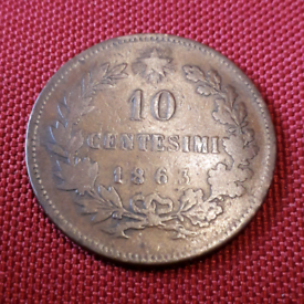 Lovely old 1863 Italian coin