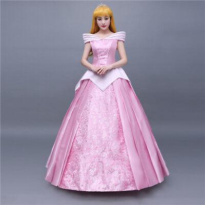 Disney Dornröschen Kostüme (Dornröschen Sleeping Beauty Aurora Disney Cosplay Costume Abend Kleid Kostüm Neu)