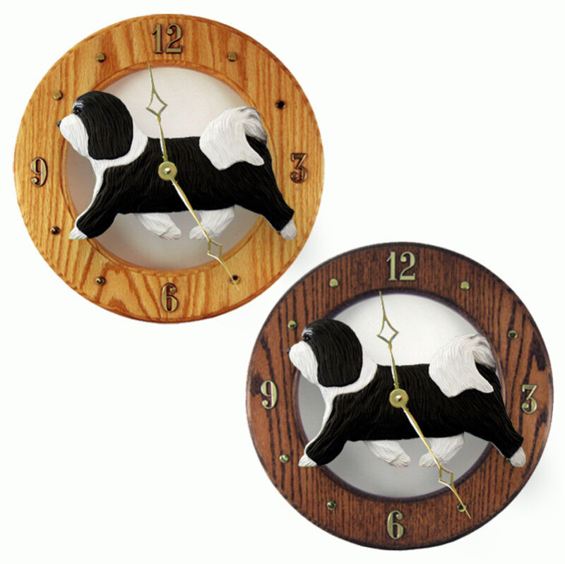 Havanese Wood Clock Black/White