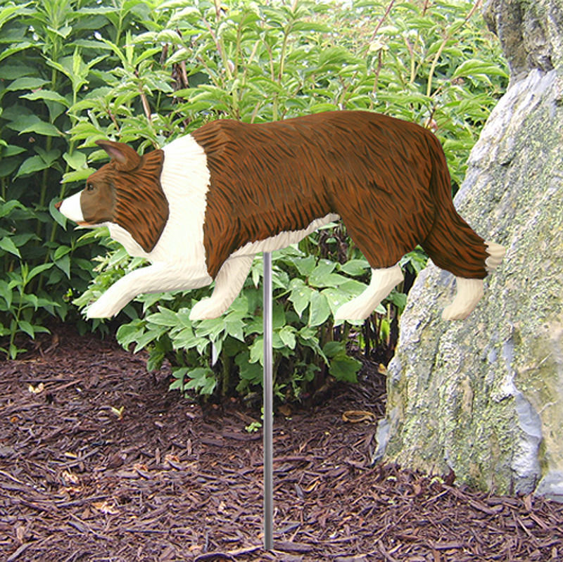 Border Collie Outdoor Garden Dog Sign Hand Painted Figure Red