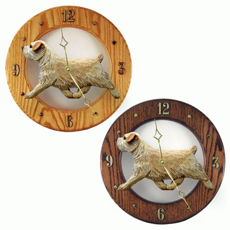 Norfolk Terrier Wood Clock Wheaten