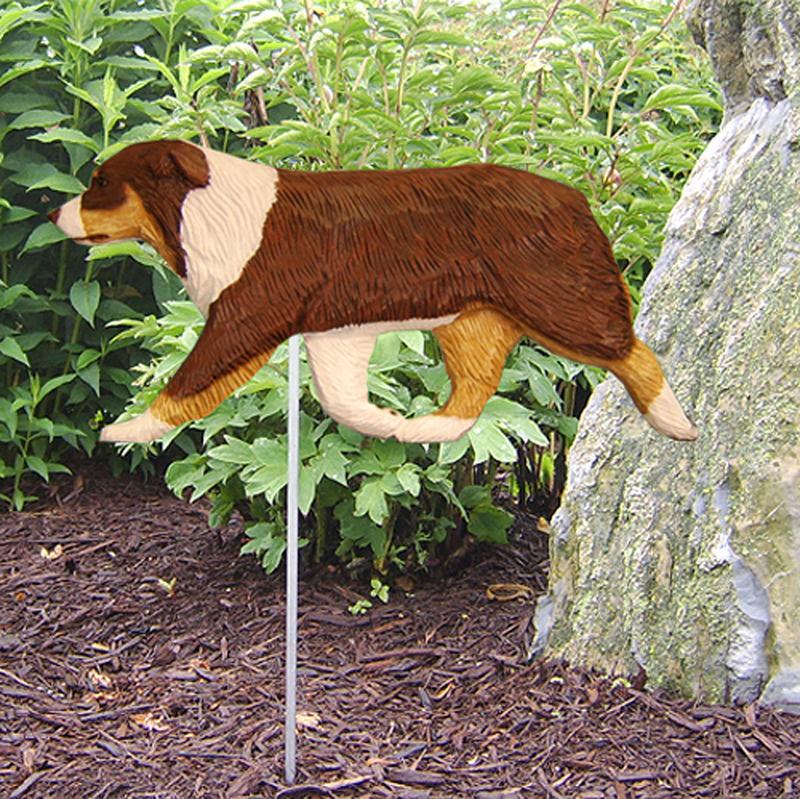 Australian Shepherd Outdoor Garden Dog Sign Hand Painted Figure Red Tri