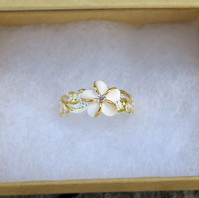 Hawaiian 925K Sterling Silver Scroll Plumeria Toe Ring 8mm Gold Plated TR1175