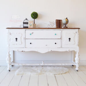 FREE DELIVERY White Distressed Buffet / Sideboard