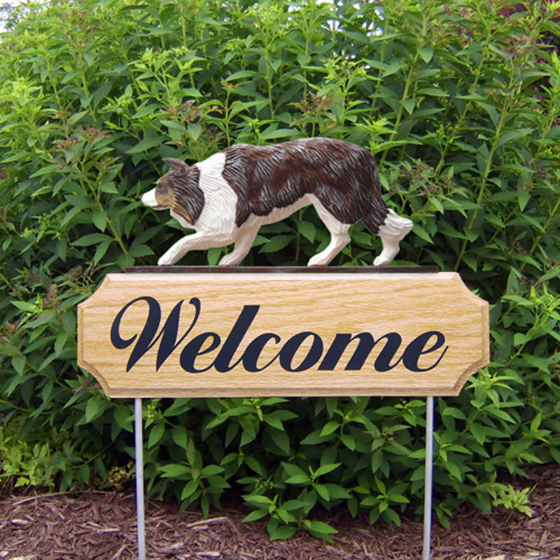 Border Collie Wood Welcome Outdoor Sign Red Merle