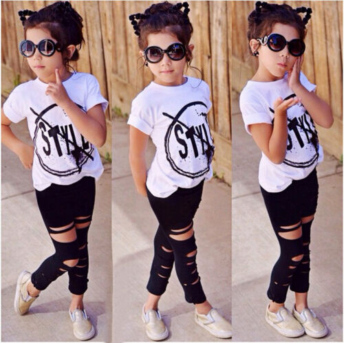 USA Cute Toddler Kids Girls T-shirt Tops Pants Leggings 2Pcs