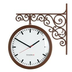 Antique Art Design Double Sided Wall Clock Station Clock Home Decor - Line(BR)