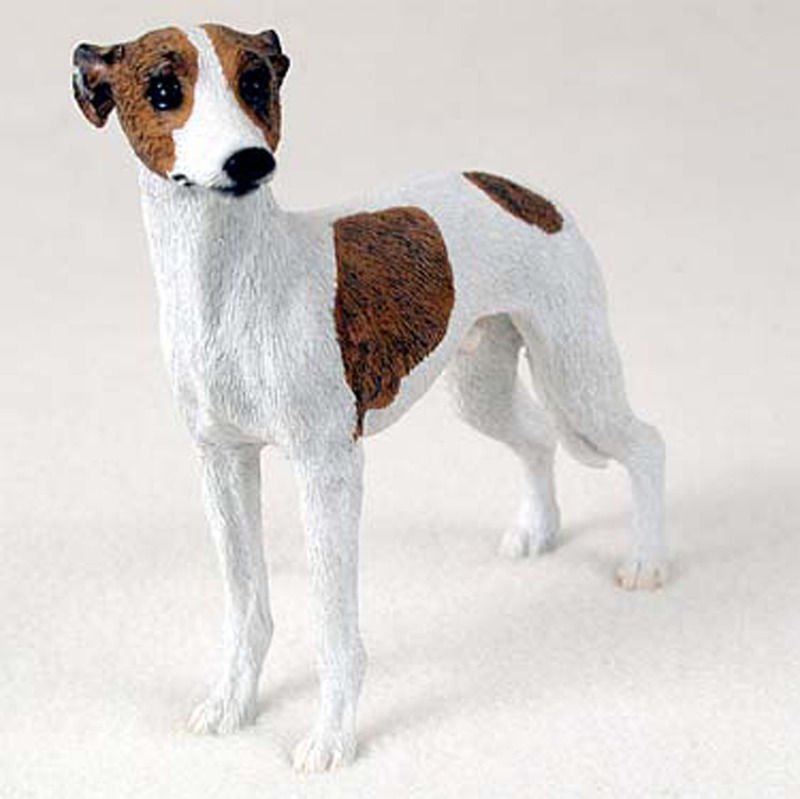 Whippet Figurine Hand Painted Collectible Statue Brindle & White