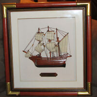 MODEL SHIP IN SHADOW BOX NICELY FRAMED ART WALL DECOR