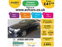 2012 BLACK MERCEDES C180 1.6 AMG SPORT PETROL COUPE CAR FINANCE FR £41 PW
