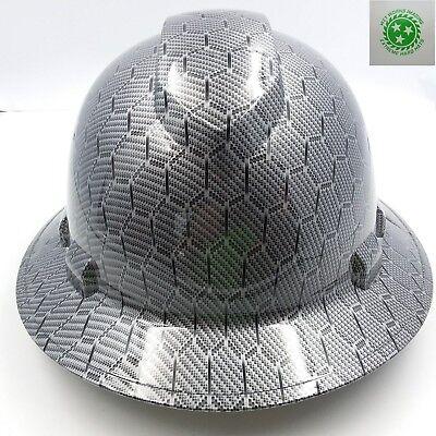 Full Brim Hard Hat Custom Hydro Dipped Black Hex Metal Carbon Fiber Sick Raiders