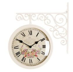 Antique Art Design Double Sided Wall Clock Station Clock Home Decor - Flower5IV