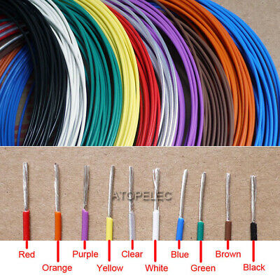 26AWG 1mm Teflon Wire Silver Plated OFC Copper Cable 300V FEP F46 Insulation