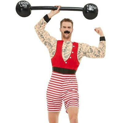 Mens Deluxe Strongman Fancy Dress Costume Circus Strong Man Outfit by Smiffys