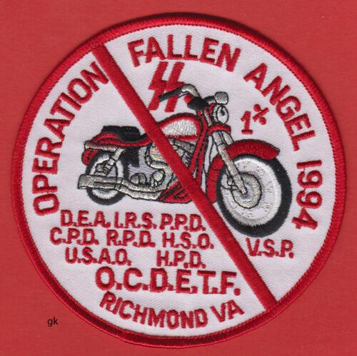 OPERATION FALLEN ANGEL 1994 RICHMOND VA DRUG ENFORCEMENT POLICE SHOULDER PATCH