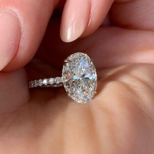 Oval Pave CZ Silver White Gold Engagement Promise Solitaire Ring RS80