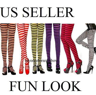 Plus Size Fun Look Gothic Opaque Striped Tights OS Queen XL 1X 2X lingerie (Fun Tights)