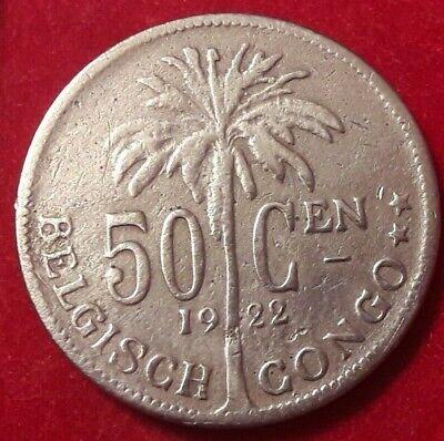 50 cent 1922 vlaams  BELGISCH CONGO - ALBERT I *