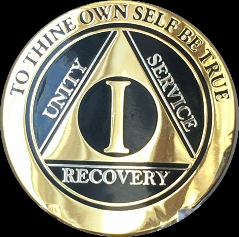 1 Year AA Medallion Black Gold Plated Bi-Plate Alcoholics Anonymous Chip Coin