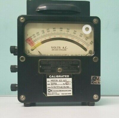 Vintage Weston Electrical Instrument Corp. Model 433 Ammeter 25-125 Cycles P1