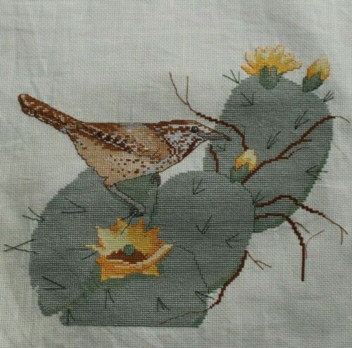Sparrow Bird on a Cactus Cacti Yellow Flowers Cross Stitch Completed Finished