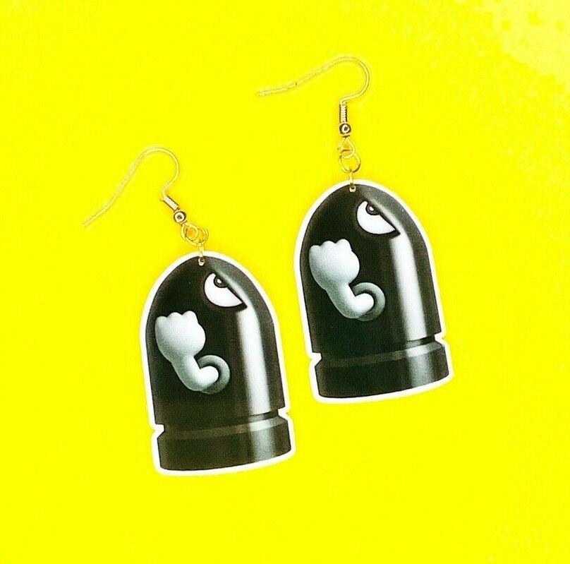 Computer Games - Bulls-Eye Bill Earrings - Mario Missile Gamer Computer Games Funny Novelty Gift