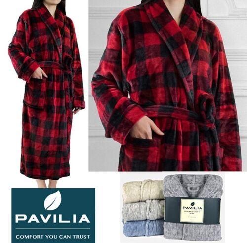 Womens Fleece Robe with Shawl Collar Plush Soft Warm Long Spa Night Bathrobe