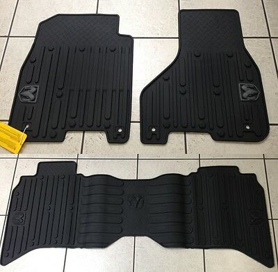 BLACK RUBBER SLUSH FLOOR MATS 2013-2017 RAM 1500 2500 & 3500 CREW CAB BRAND NEW!