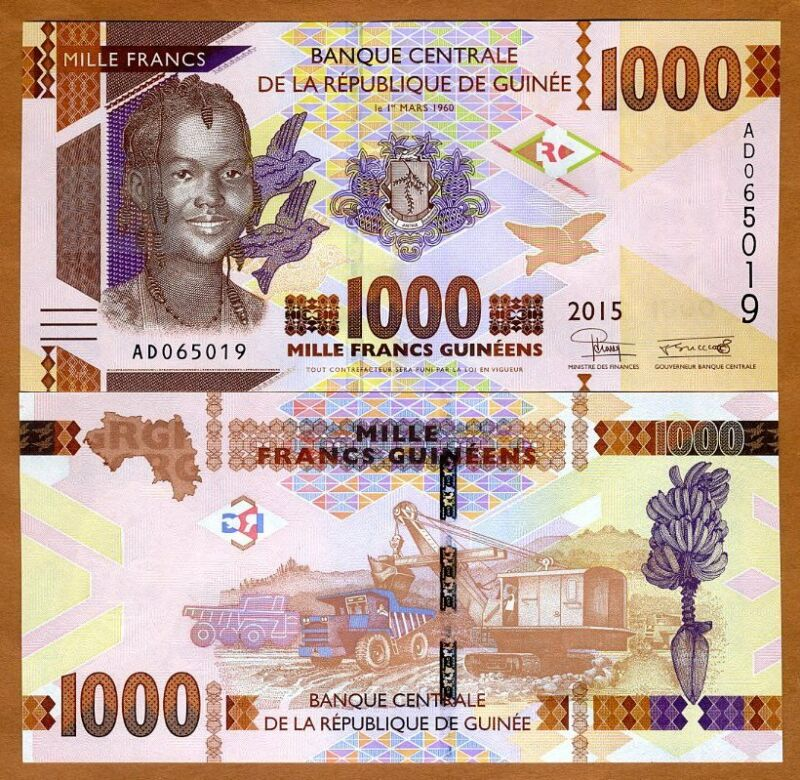 Guinea, 1000 francs, 2015, P-48a, UNC > Redesigned
