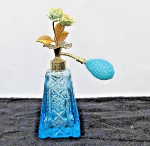 vintage IRICE ? perfume bottle BLUE GLASS  atomizer  goldtone FLOWER TOP