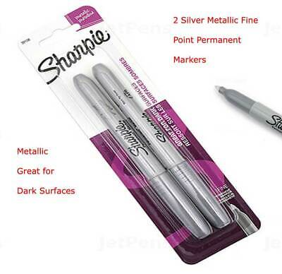 Sharpie Metallic Permanent Marker - Fine Point - Silver - Pack Of 2