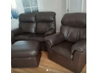 G Plan brown leather two seater sofa couch armchair and footstool storage excellent condition