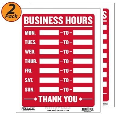 2 Pack - Business Hours Sign Durable Plastic Weatherproof 9 Inch X 12 Inch