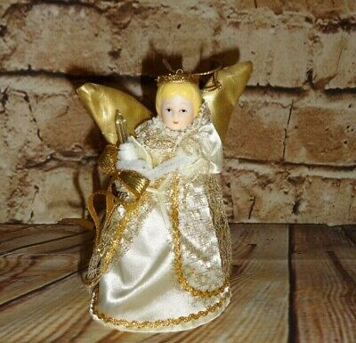 Mini Plug Light Up Porcelain Head Holiday Angel Christmas Tree Topper Gold 5""