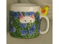 Novelty - MUG - CAT amongst flowers, baby chick on handle - good condition