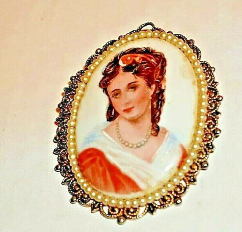 Antique Hand Painted Porcelain pendant pin cameo  shape pearl trim on gold tone