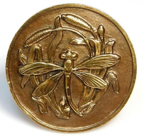 Antique Vtg Button LARGE Stamped Brass DRAGONFLY in Cat Tails NICE! #G