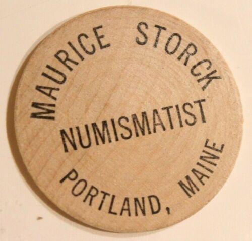 Vintage Maurice Storck Wooden Nickel Numismatics Portland Maine