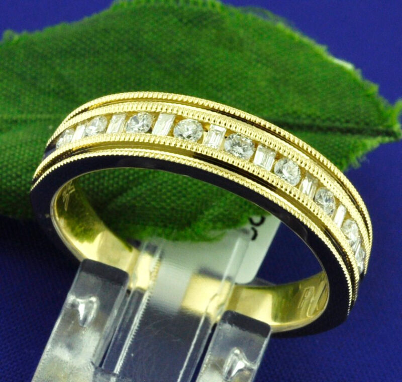 0.63 Ct 14k Solid Yellow Gold Mens Diamond Ring Channel Set  Baguette N Round