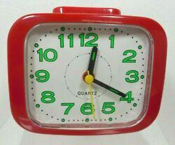 Vintage Retro Alarm Clock Red Battery Operated Glow In The Dark Green #s Quartz