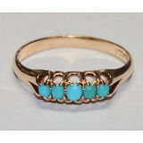 Antique 14K Turquoise Ring Victorian Solid Yellow Gold Band Edwardian Vintage