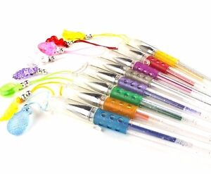 8 x Scented Smelly Glitter Gel Pens With Fruit Charms Girl Kids Smell Pen Gift