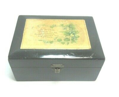 ANTIQUE BLACK MAUCHLINE TRANSFER WARE BOX A WISH  NICE GIFT BOX