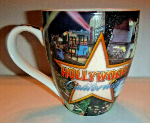 "HOLLYWOOD California Porcelain 16 ounce Coffee Mug ""Old Hollywood"" Views on Mug"