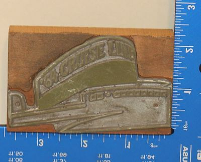 Vintage Letterpress Wood Printing Block Stamp 1964 64 Cruise Line Ship Boat