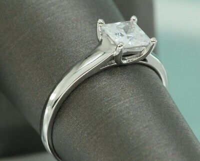 1 CT Princess CUT DIAMOND SOLITAIRE ENGAGEMENT RING 18K WHITE GOLD ENHANCED