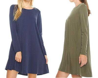 (Women's Plain Long Sleeve A-Line Tunic Dress Pockets Loose Casual Top Blue Green)