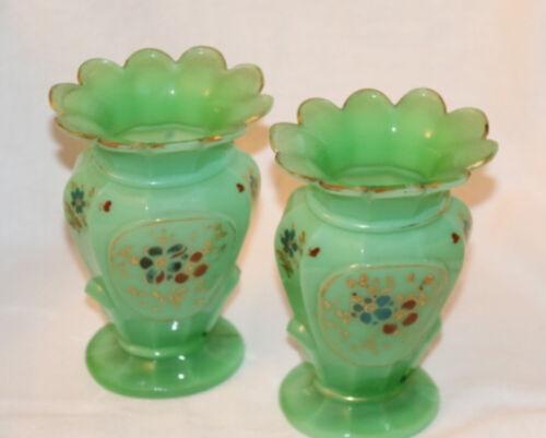 Nice Pair Of 19th Century Antique Green Opaline Vases.