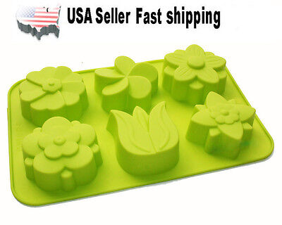 6 Cavity Lily Flower Silicone Mold Soap DIY Handmade Soap Mold US Seller